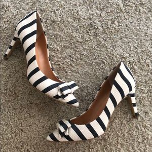 J. Crew striped bow heels